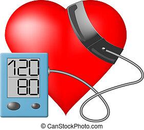 corazón, presión, -, monitor, sangre
