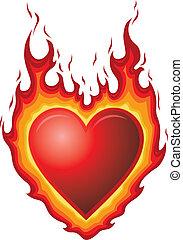 corazón, quemadura