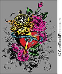Corazón real con decoración de flores
