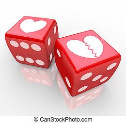 corazón, relatioship, amor, dados, risking, roto, corazones