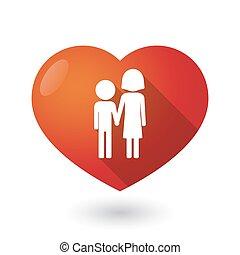 Corazón rojo aislado con un pictograma de la infancia