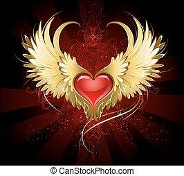 Corazón rojo con alas doradas