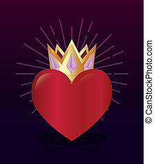 Corazón rojo con premio a la corona dorada