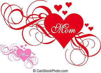 Corazón rojo con remolinos, día de la madre