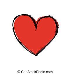 Corazón rojo en fondo blanco, vector