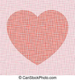 Corazón Rojo en la textura del lienzo