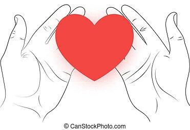 Corazón rojo en las manos.