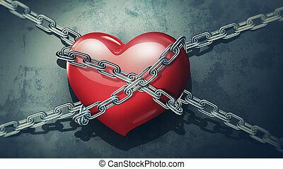 Corazón rojo encadenado