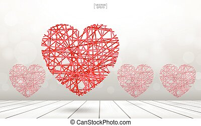 corazón, rojo, fondo., de madera, confuso, resumen, piso, flotar, textura, encima, luz, bokeh, vector.