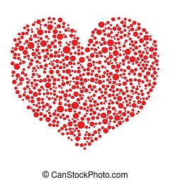 Corazón rojo hecho de círculos sobre fondo blanco