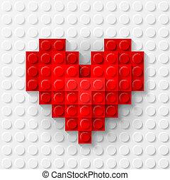 Corazón rojo hecho de kit de construcción