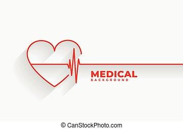 corazón, rojo, latido del corazón, línea, médico, plano de fondo