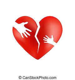 Corazón rojo roto con manos de adulto y niño en ella, aislado en el fondo del ingenio