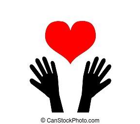 corazón, rojo, vector, blanco, fondo., manos humanas
