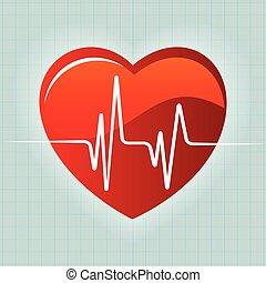 Corazón rojo y latido del corazón vector de fondo