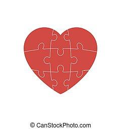 corazón, rompecabezas, vector, blanco, simple, icono, aislado