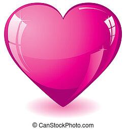 Corazón rosa brillante