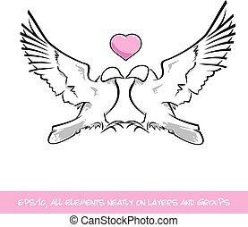 Corazón rosa de los pájaros del amor