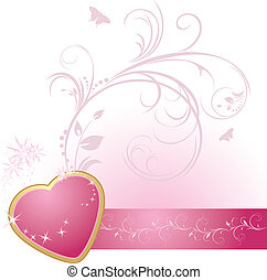 Corazón rosado con adorno