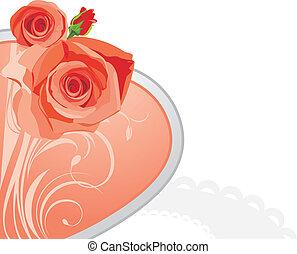 Corazón rosado con rosas