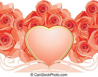 Corazón rosado con rosas florecientes