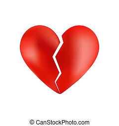 Corazón roto aislado en blanco