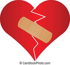 Corazón roto con yeso