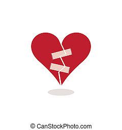 Corazón roto fijado con ilustración de cinta adhesiva
