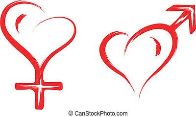 corazón, símbolo, macho, hembra, sexo