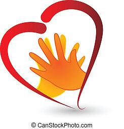 corazón, símbolo, vector, icono, manos