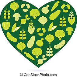 Corazón saludable aislado en blanco (verde)