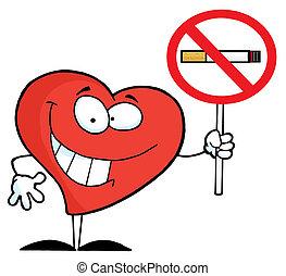 corazón, señal, teniendo arriba, no fumar