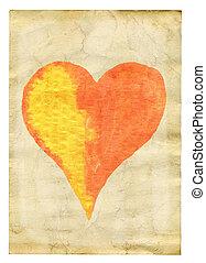 Corazón sobre papel viejo