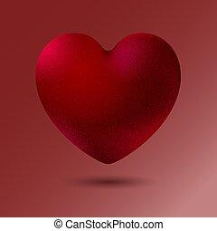 corazón, style., fondo., realista, illustration., terciopelo, rojo, vector, aislado, decorativo