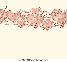 corazón, tejido de punto, patrón, aguja, seamless, clew