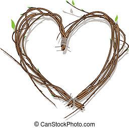 Corazón tejido de ramitas, aislado en blanco