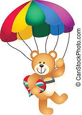 corazón, teniendo oso peluche, paracaídas