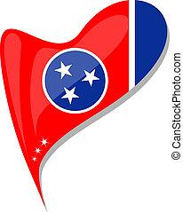 corazón, tennessee, botón, forma., bandera, vector