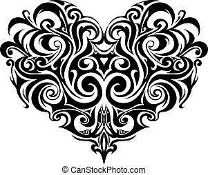 corazón, tribal, tatuaje
