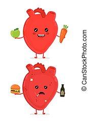 corazón, triste, enfermo, botella, malsano
