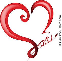 corazón, valentines, brillante, día, logotipo