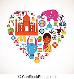 corazón, vector, india, iconos