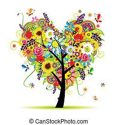 corazón, verano, floral, árbol, forma