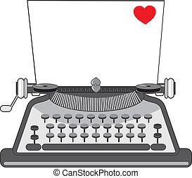 corazón, viejo, máquina de escribir