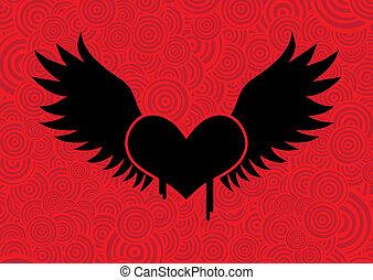 Corazón volador negro