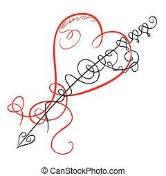 Corazón y flecha de decoración