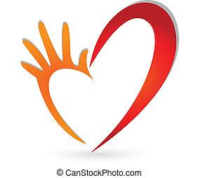 Corazón y mano vector de logo