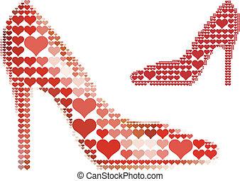 corazón, zapato, rojo, patrón