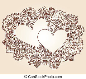 corazones, alheña, amor, valentines, garabato