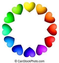 Corazones color arco iris arreglados en un círculo